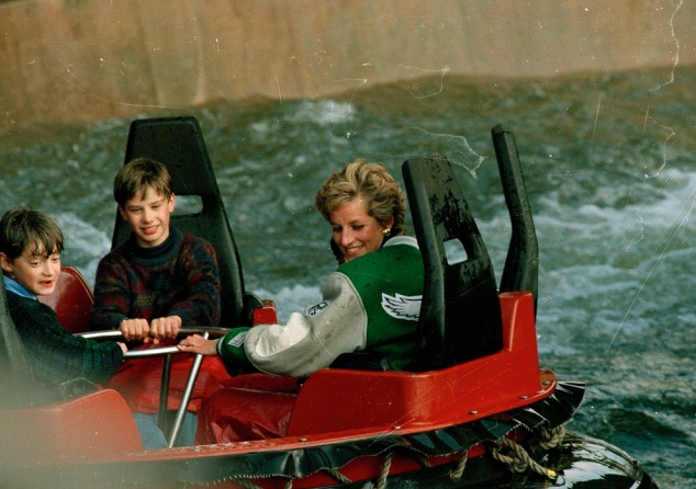 My picture of Princess Diana on the log flume at Alton Towers. Picture copyright Smith Davis Press.
