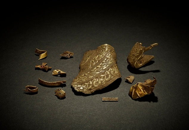 Pieces of the priceless Staffordshire Hoard.
