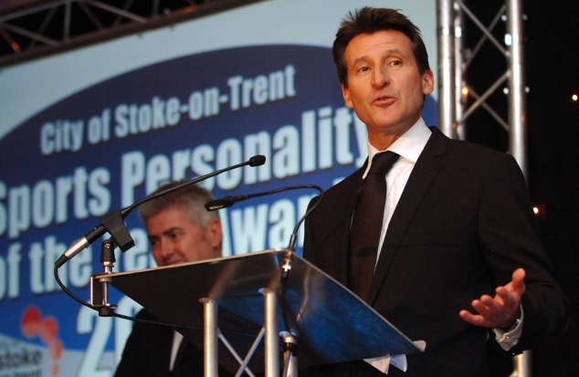 Lord Sebastian Coe, our guest of honour at the Sports Awards, gives the keynote speech. In the background is compere - Potteries TV star Nick Hancock.