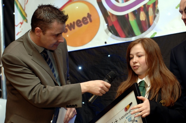 Yours truly interviewing one of the pupils from a winning school in the 2012 Class Act competition.