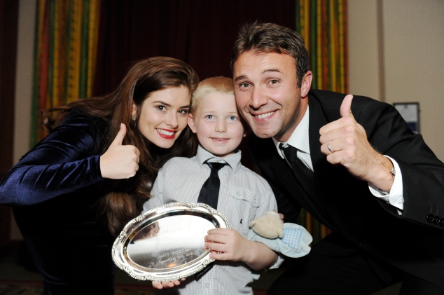 Our Heroes winner Corey Stephens-Goodall with Jonathan Wilkes and Rachel Shenton.