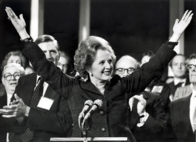 Margaret Thatcher celebrated a landslide General Election victory in 1983.