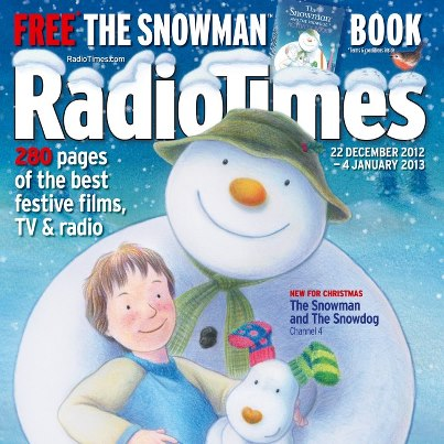 The cover of the 2012 festive edition of the Radio Times showing artwork from the new The Snowman and The Snow Dog animated film.