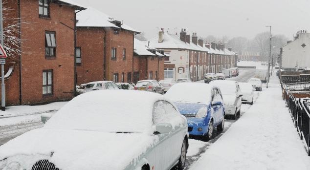 A snow scene in Burslem.