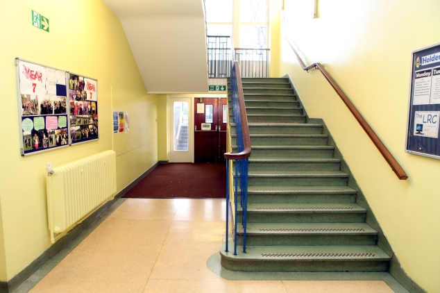 Inside the old building at Holden Lane High which is due to be demolished in January 2014.