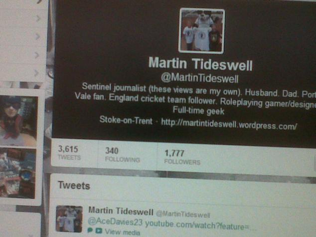 The Twitter home page of yours truly.