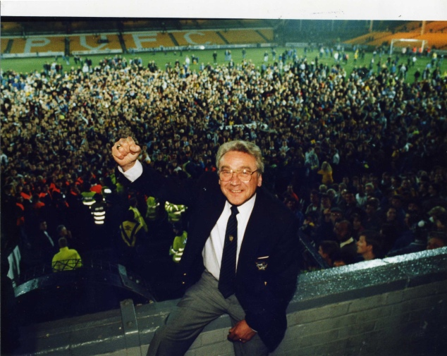 Port Vale Chairman Bill Bell celebrates with fans at the end of the 1993 season.