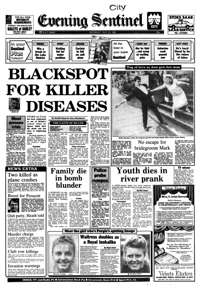 A Sentinel front page from July 1988.
