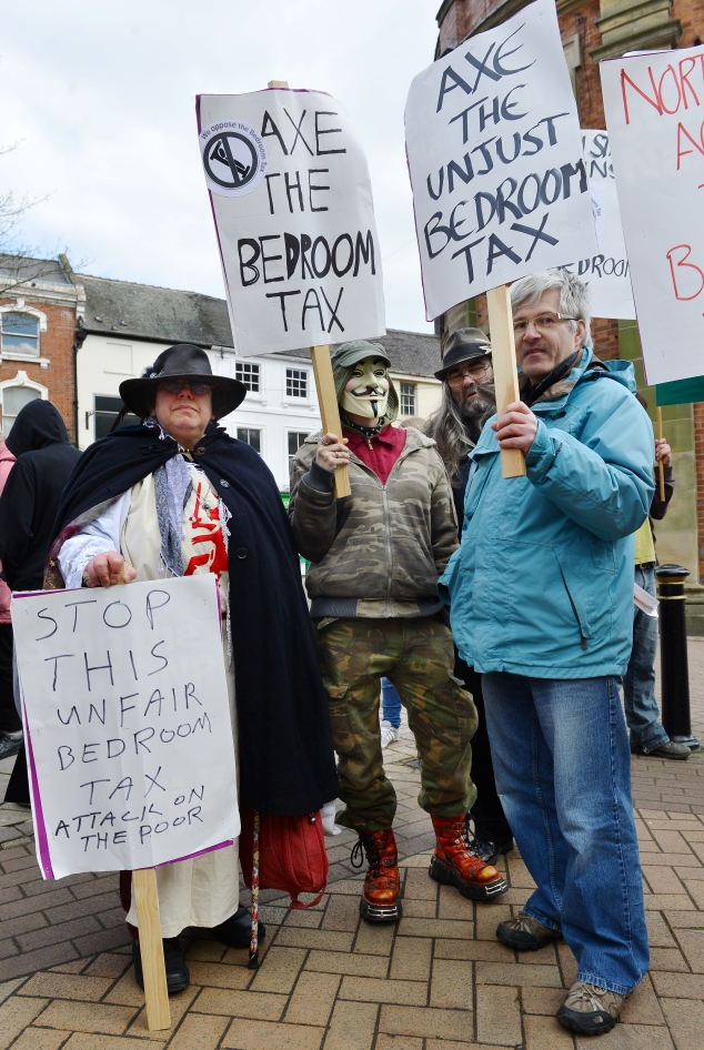 Protestors demonstrating against the bedroom tax.