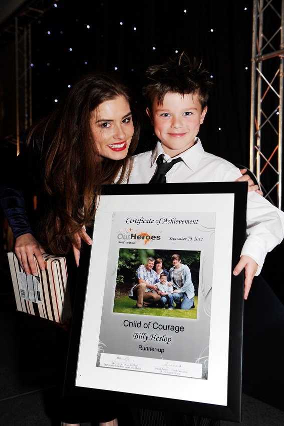 Actress Rachel Shenton with Child of Courage nominee Billy Heslop.