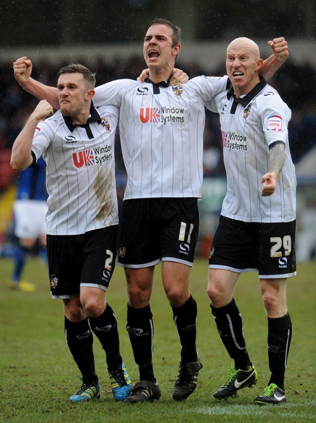 Adam Yates, Tom Pope and Lee Hughes show their passion.