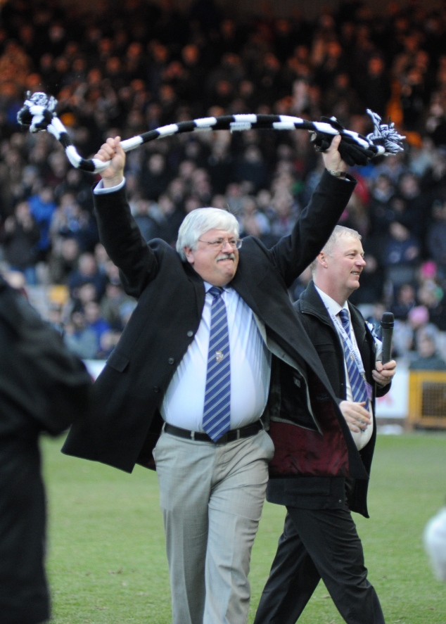 Vale owner Norman Smurthwaite celebrates the 7 - 1 home win over Burton Albion.