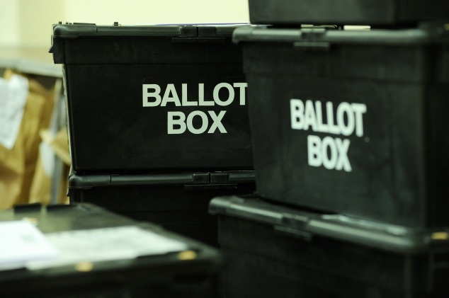 Ballot boxes ready for emptying.