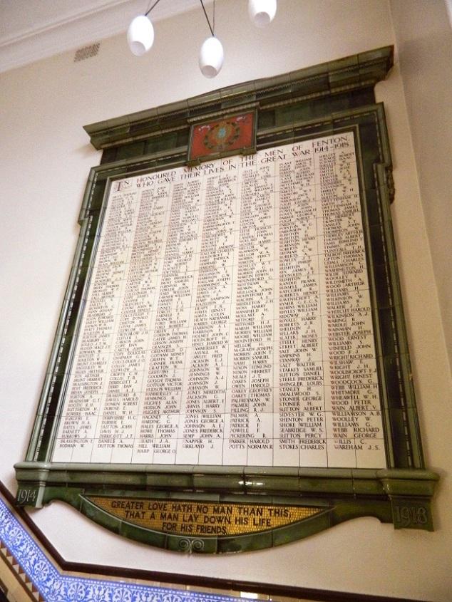 The Great War memorial inside Fenton Town Hall.