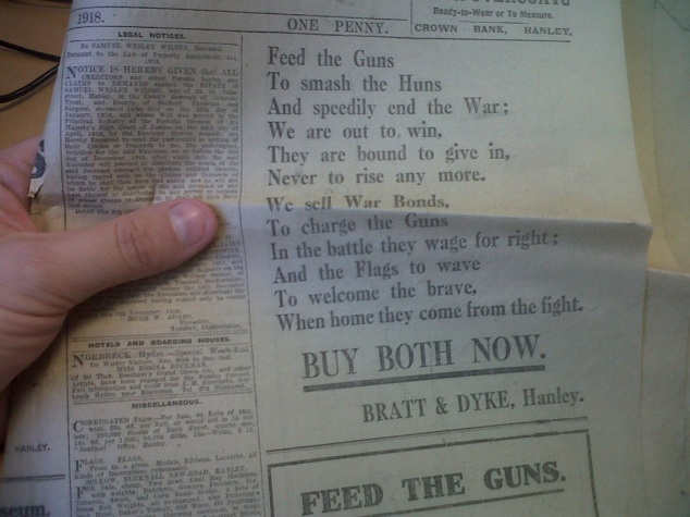 A section of the front page fromThe Sentinel in 1918 when the Great War Armistice was declared.