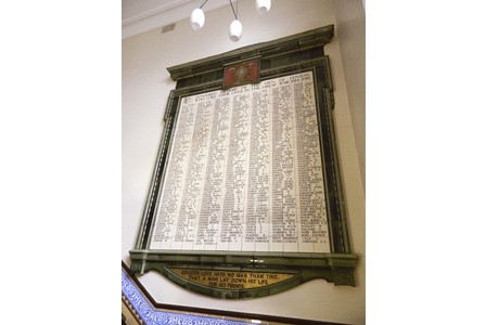 The Great War memorial inside Fenton Town Hall.