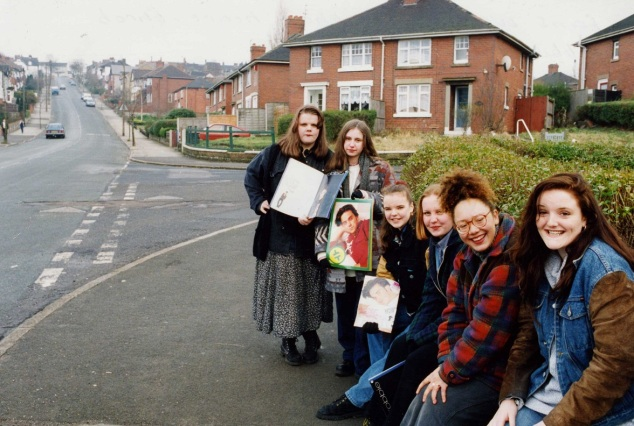 Fans waiting outside the home of Robbie Williams in 1994.