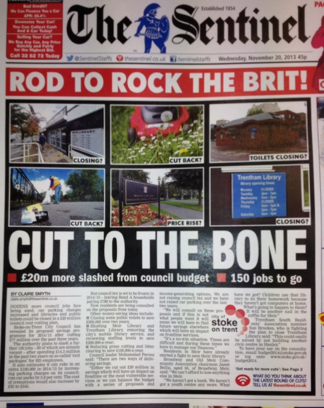 The Sentinel's front page reporting the £20m city council cutbacks.