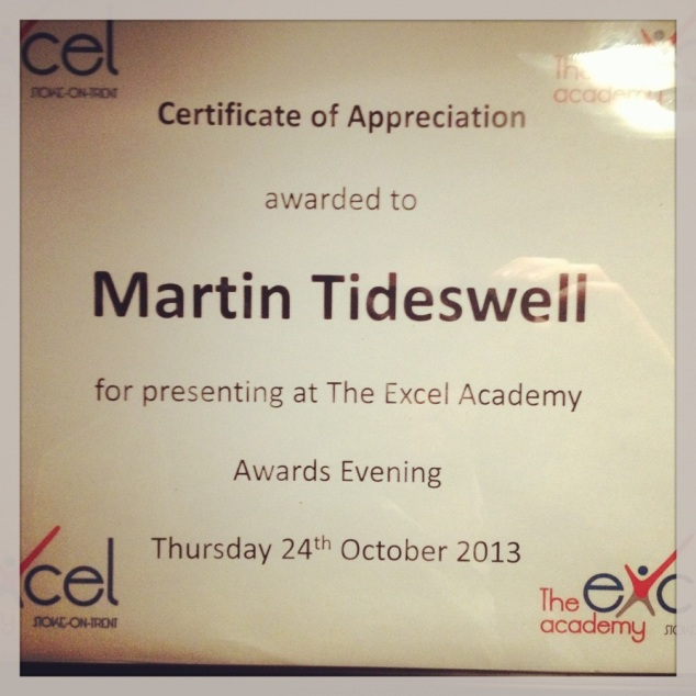 A thank you for attending the Excel Academy Awards night.
