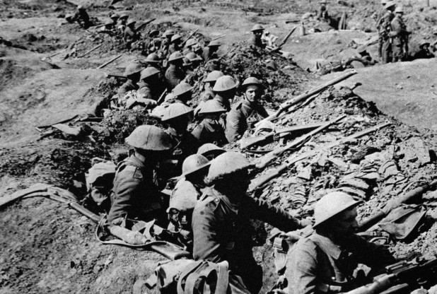 British Tommies in a shallow trench during the Battle of the Somme.