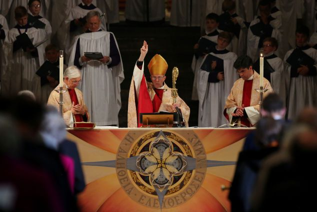 The Archbishop of Canterbury Justin Welby during the Easter service at Canterbury Cathedral in Kent.