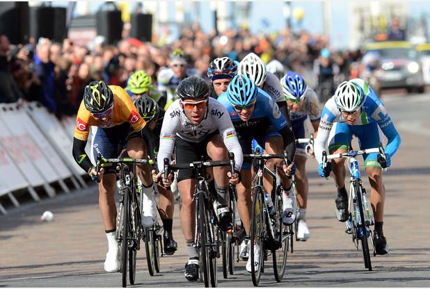Tour of Britain riders in Hanley.