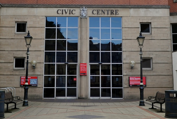 The city council's headquarters in Stoke.