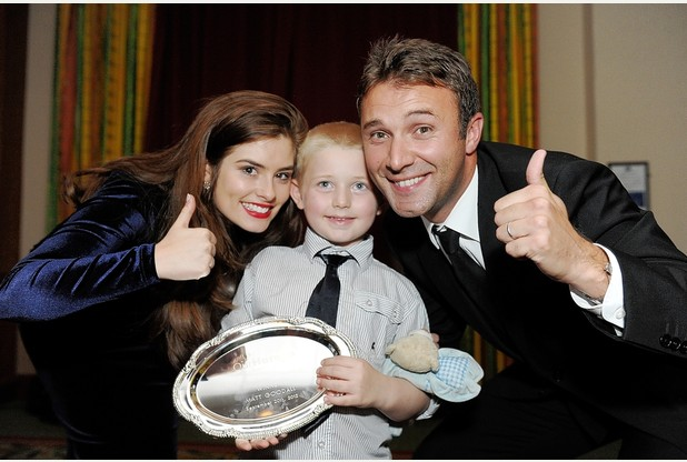 Jonny Wilkes and Rachel Shenton with previous Child of Courage winner Corey Stephens-Goodall.